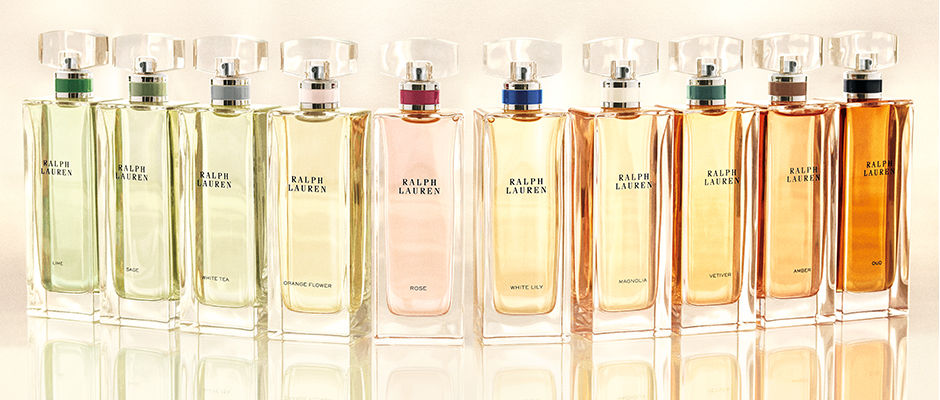 Row of ten bottles of Ralph Lauren fragrance