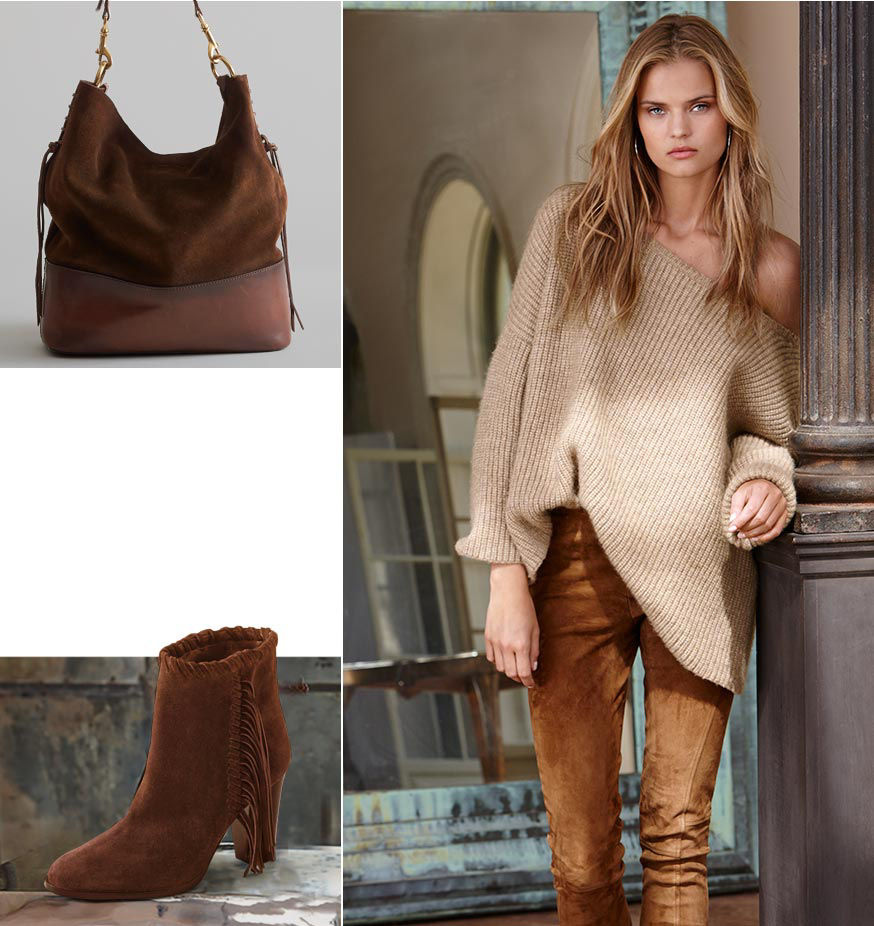Left-Haircalf tote bag with silver conchos. Suede bootie with fringe. Right-Woman wears an off-the-shoulder beige sweater & brown skinny pant.