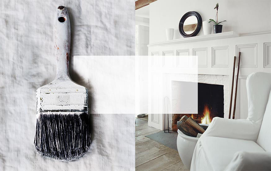 Left: Paint brush with white paint covering handle. Right: Fireplace with white painted mantelpiece