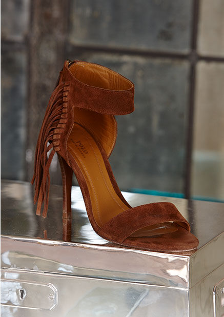 Fringed suede stiletto sandal