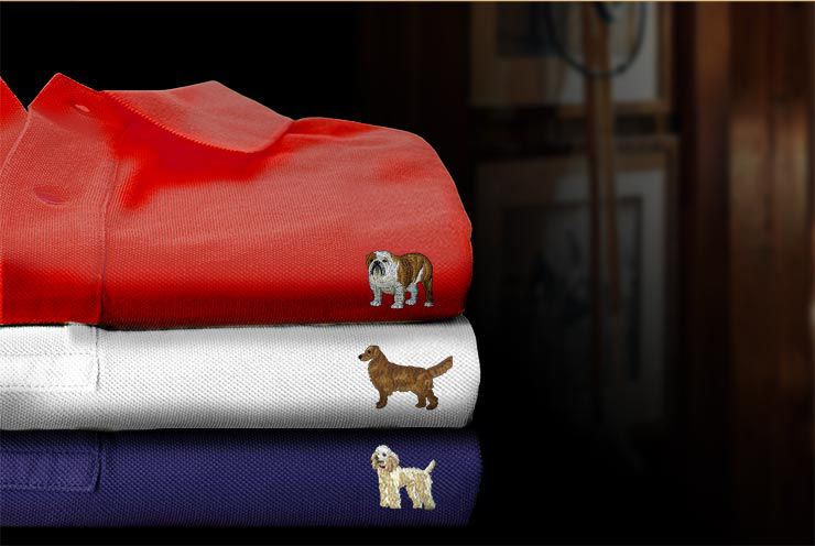 Stack of Polo shirts with an array of embroidered dogs