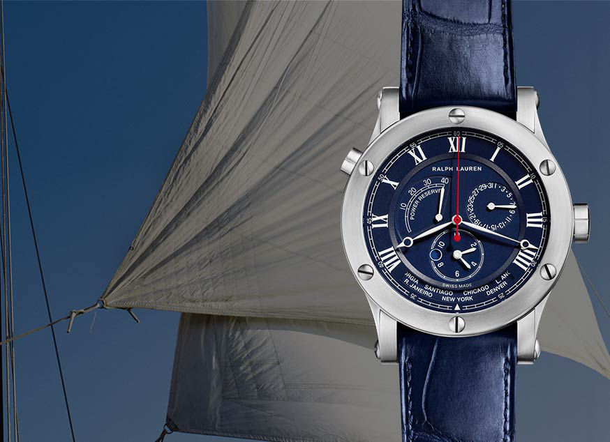 Sporting timepiece with navy dial and matching strap